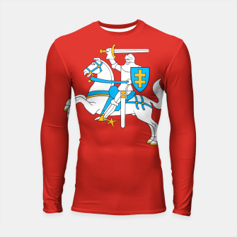 Thumbnail image of State flag of Lithuania Knight On Red Longsleeve rashguard , Live Heroes