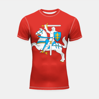 Thumbnail image of State flag of Lithuania Knight On Red Shortsleeve rashguard, Live Heroes