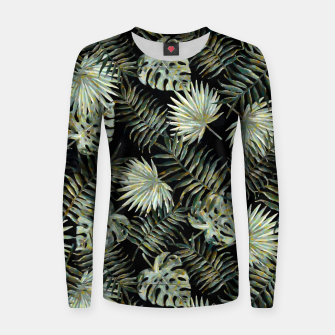 Thumbnail image of Dark Tropical Leaves Vintage Style |  Woman cotton sweater, Live Heroes