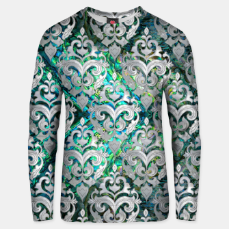Thumbnail image of Persian Oriental  pattern abalone and pearl Cotton sweater, Live Heroes