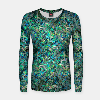 Thumbnail image of Persian Oriental pattern abalone and silver Woman cotton sweater, Live Heroes