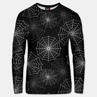 Miniatur White Spider Web Cobweb Silk Pattern on Black Cotton sweater, Live Heroes
