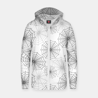 Miniatur Black Spider Web Cobweb Silk Pattern on Dark White Cotton zip up hoodie, Live Heroes