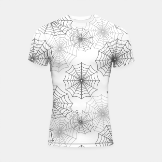 Miniatur Black Spider Web Cobweb Silk Pattern on Dark White Shortsleeve rashguard, Live Heroes