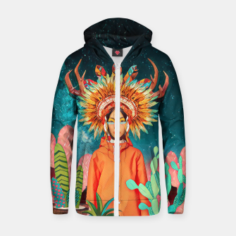 Thumbnail image of Boho style Cotton zip up hoodie, Live Heroes