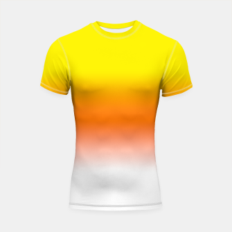 Miniatur Yellow Orange and White Halloween Candy Corn Shortsleeve rashguard, Live Heroes