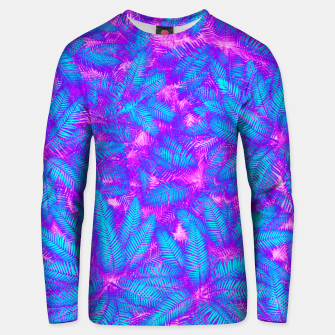 Jungle Heat bright colourful abstract tropical jungle palm leaves pattern Cotton sweater thumbnail image