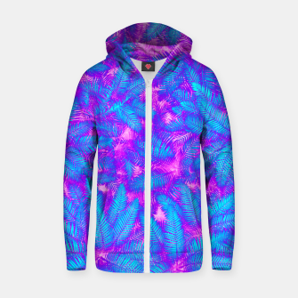 Thumbnail image of Jungle Heat bright colourful abstract tropical jungle palm leaves pattern Cotton zip up hoodie, Live Heroes