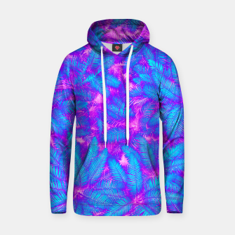 Thumbnail image of Jungle Heat bright colourful abstract tropical jungle palm leaves pattern Cotton hoodie, Live Heroes