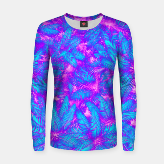 Jungle Heat bright colourful abstract tropical jungle palm leaves pattern Woman cotton sweater thumbnail image