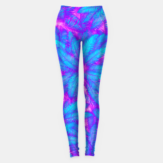 Thumbnail image of Jungle Heat bright colourful abstract tropical jungle palm leaves pattern Leggings, Live Heroes