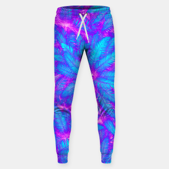 Jungle Heat bright colourful abstract tropical jungle palm leaves pattern Cotton sweatpants thumbnail image