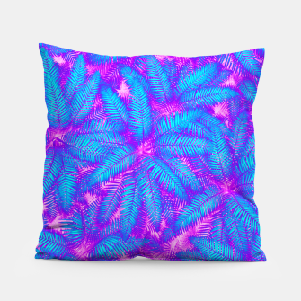 Jungle Heat bright colourful abstract tropical jungle palm leaves pattern Pillow thumbnail image