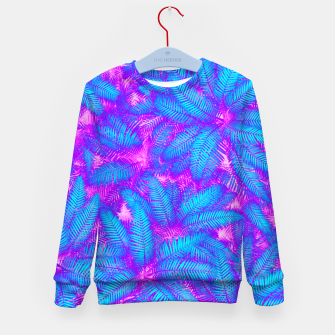 Thumbnail image of Jungle Heat bright colourful abstract tropical jungle palm leaves pattern Kid's sweater, Live Heroes