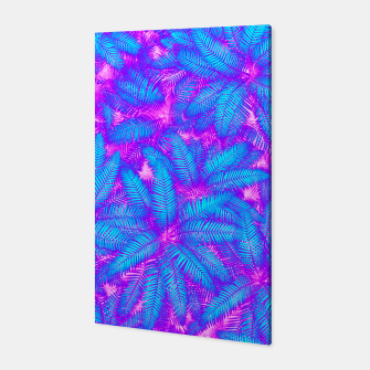 Jungle Heat bright colourful abstract tropical jungle palm leaves pattern Canvas thumbnail image