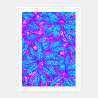Thumbnail image of Jungle Heat bright colourful abstract tropical jungle palm leaves pattern Framed poster, Live Heroes