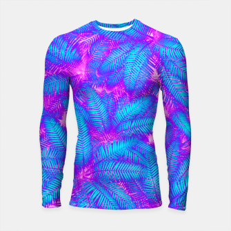 Jungle Heat bright colourful abstract tropical jungle palm leaves pattern Longsleeve rashguard  thumbnail image