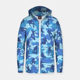 Thumbnail image of Skater Camo pattern OCEAN Cotton zip up hoodie, Live Heroes