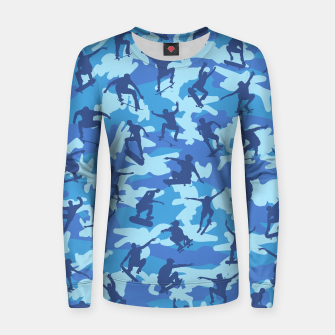 Thumbnail image of Skater Camo pattern OCEAN Woman cotton sweater, Live Heroes
