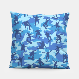 Thumbnail image of Skater Camo pattern OCEAN Pillow, Live Heroes