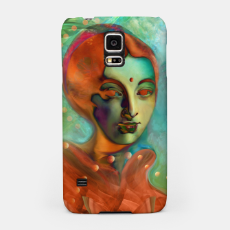 "Thumbnail image of ""Exotic woman in green and orange tropical jungle"" Carcasa por Samsung, Live Heroes"