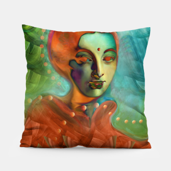 "Imagen en miniatura de ""Exotic woman in green and orange tropical jungle"" Almohada, Live Heroes"
