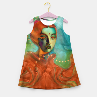 "Miniaturka ""Exotic woman in green and orange tropical jungle"" Vestido de verano para niñas, Live Heroes"