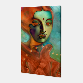 "Thumbnail image of ""Exotic woman in green and orange tropical jungle"" Canvas, Live Heroes"