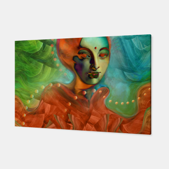 "Miniaturka ""Exotic woman in green and orange tropical jungle"" Canvas, Live Heroes"