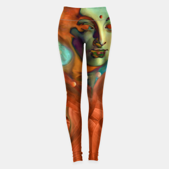"Thumbnail image of ""Exotic woman in green and orange tropical jungle"" Leggings, Live Heroes"