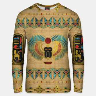 Thumbnail image of Egyptian Scarab  beetle  Ornament on papyrus  Cotton sweater, Live Heroes