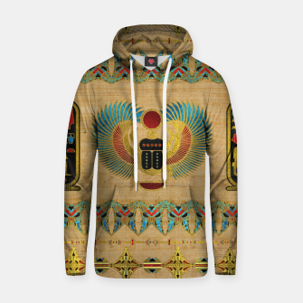 Thumbnail image of Egyptian Scarab  beetle  Ornament on papyrus  Cotton hoodie, Live Heroes