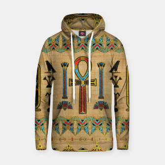 Thumbnail image of Egyptian Cross - Ankh Ornament on papyrus  Cotton hoodie, Live Heroes