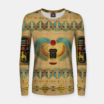 Thumbnail image of Egyptian Scarab  beetle  Ornament on papyrus  Woman cotton sweater, Live Heroes