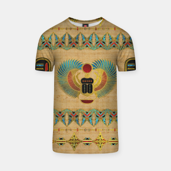 Thumbnail image of Egyptian Scarab  beetle  Ornament on papyrus  T-shirt, Live Heroes