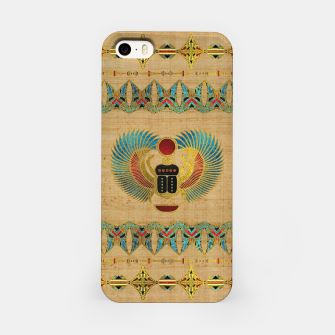 Thumbnail image of Egyptian Scarab  beetle  Ornament on papyrus  iPhone Case, Live Heroes