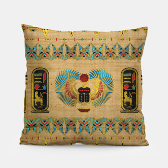 Thumbnail image of Egyptian Scarab  beetle  Ornament on papyrus  Pillow, Live Heroes