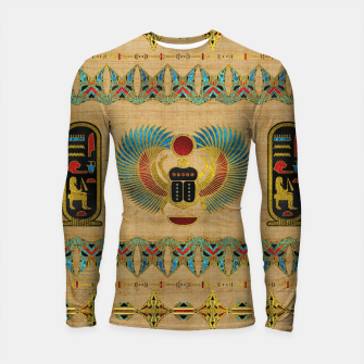 Thumbnail image of Egyptian Scarab  beetle  Ornament on papyrus  Longsleeve rashguard , Live Heroes