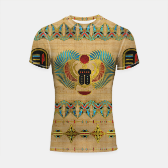 Thumbnail image of Egyptian Scarab  beetle  Ornament on papyrus  Shortsleeve rashguard, Live Heroes