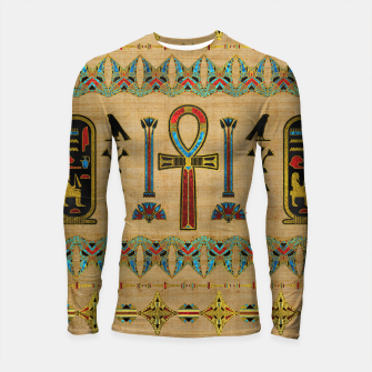 Thumbnail image of Egyptian Cross - Ankh Ornament on papyrus  Longsleeve rashguard , Live Heroes