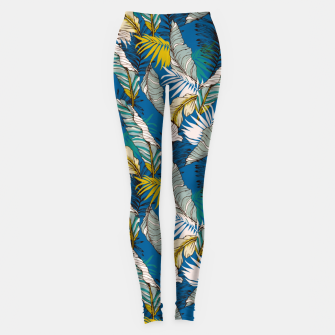 Miniatur Blue tropical palm leaf Leggings, Live Heroes