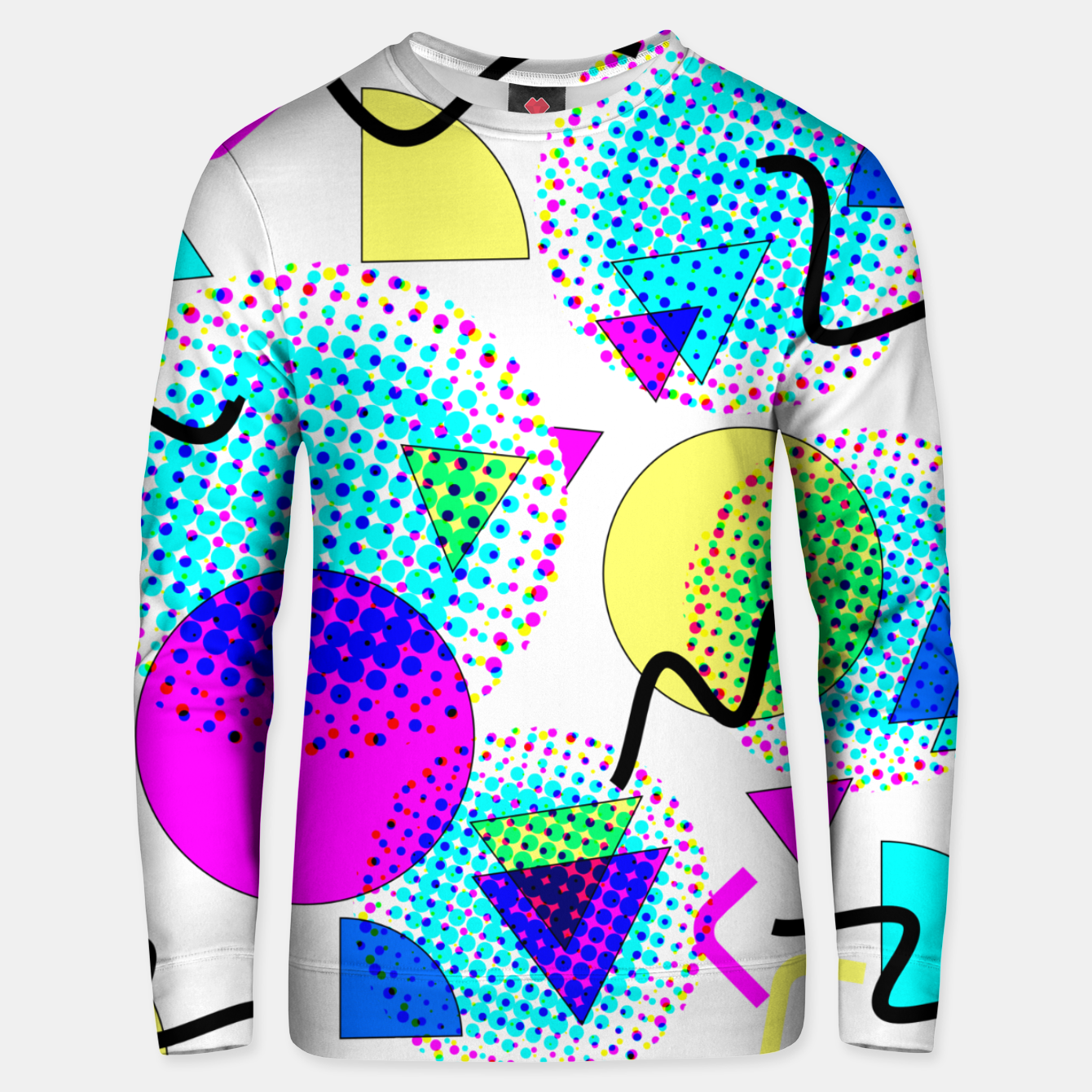 Image of Memphis Retro 80's Pop-art Pattern Cotton sweater - Live Heroes
