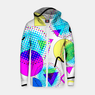 Memphis Retro 80's Pop-art Pattern Cotton zip up hoodie thumbnail image