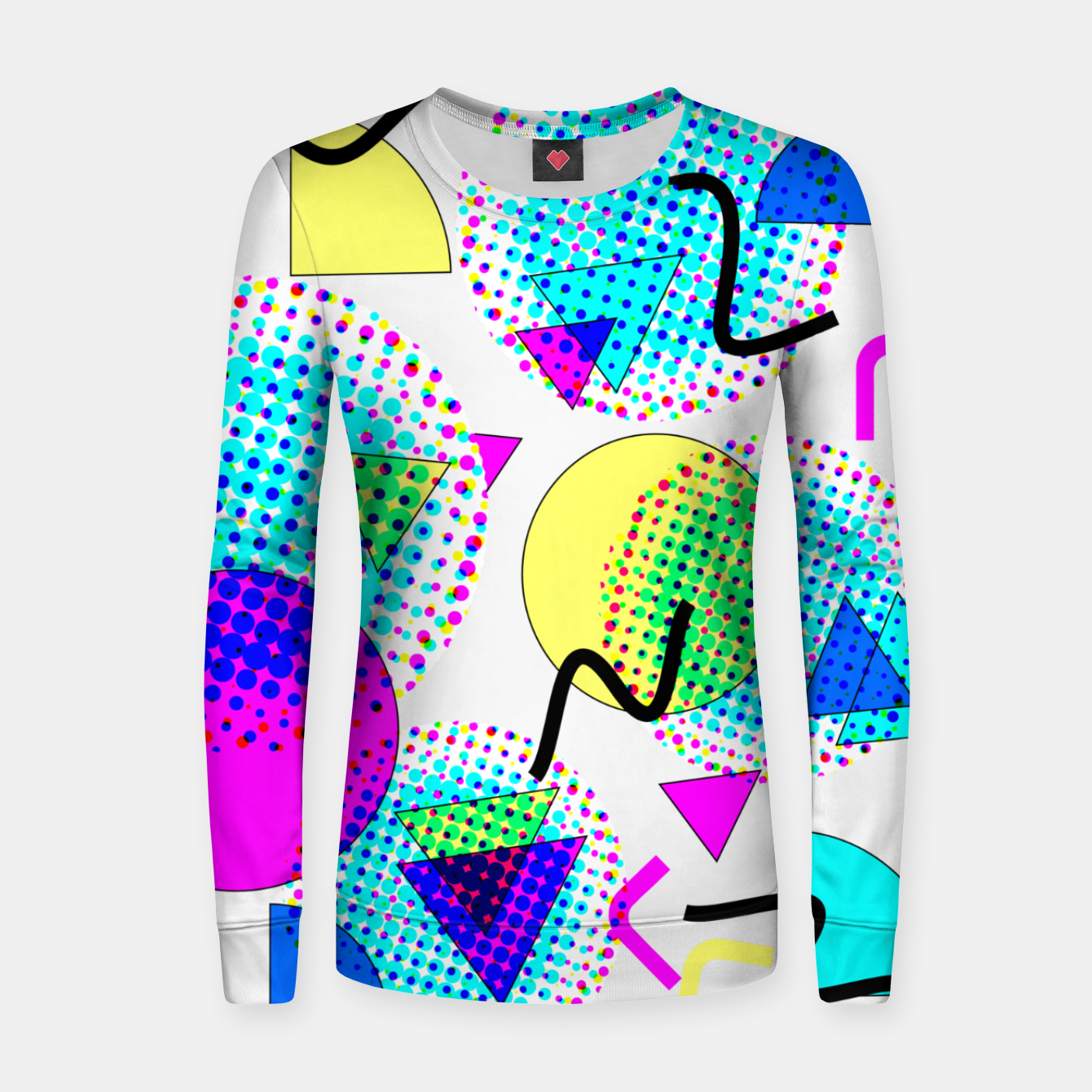 Image of Memphis Retro 80's Pop-art Pattern Woman cotton sweater - Live Heroes