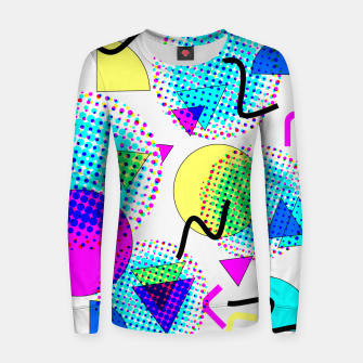 Thumbnail image of Memphis Retro 80's Pop-art Pattern Woman cotton sweater, Live Heroes