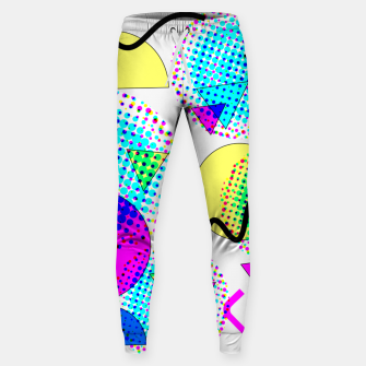 Thumbnail image of Memphis Retro 80's Pop-art Pattern Cotton sweatpants, Live Heroes