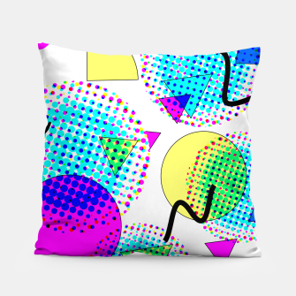 Thumbnail image of Memphis Retro 80's Pop-art Pattern Pillow, Live Heroes