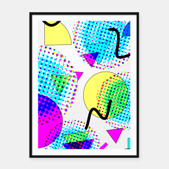 Thumbnail image of Memphis Retro 80's Pop-art Pattern Framed poster, Live Heroes