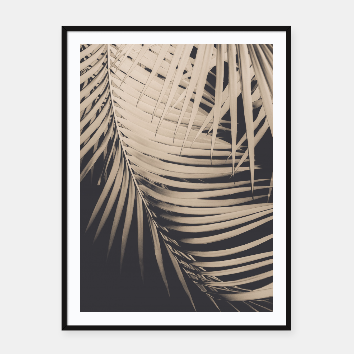 Image of Palm Leaves Sepia Vibes #1 #tropical #decor #art Plakat mit rahmen - Live Heroes