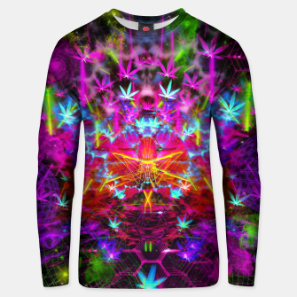 Miniatur Cannabinoid Space-Time Warp (psychedelic,abstract, cannabis leaf) Cotton sweater, Live Heroes